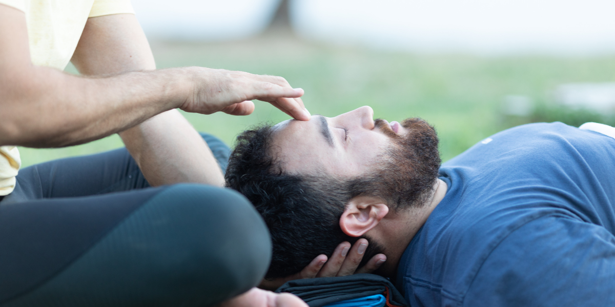 Man practicing yoga therapy