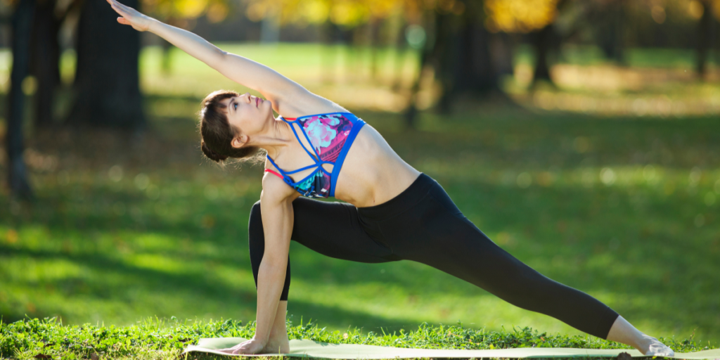 The bound extend side angle pose, also known as Baddha Utthita Parsvakonasana, relieves stiffness in your spine and shoulders, deep stretches your hamstrings and groins, increases stamina, strengthens your ankles, knees, and legs, and tones your abdominal muscles.