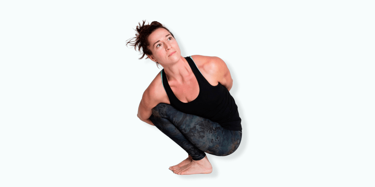 Pasasana, also known as the noose pose, stretches and twists your upper body and leads to a stable foundation. It requires you to maintain your balance while squatting and twisting simultaneously.